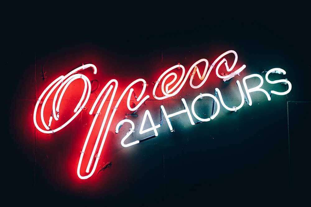 Image saying 'Open 24 hours'