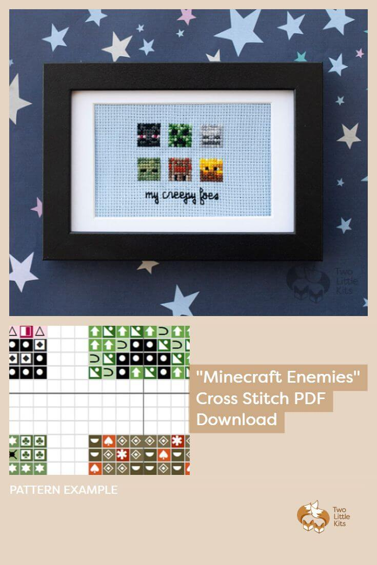 PDF counted cross stitch pattern of Minecraft enemies by Two Little Kits. Only $3.95 and download it instantly! Available for purchase through twolittlekits.com