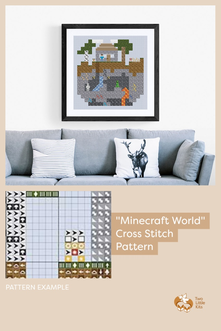 'Minecraft World'. PDF cross-stitch pattern available for purchase through twolittlekits.com