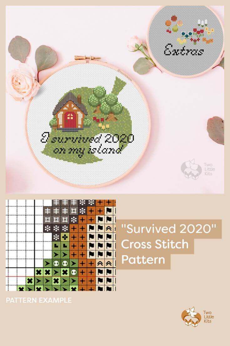 'Survived 2020' is my first customisable cross-stitch pattern that playfully makes light of the trials and tribulations that 2020 has brought us and ties it with the hit game 'Animal Crossing'. PDF cross-stitch pattern available for purchase through twolittlekits.com