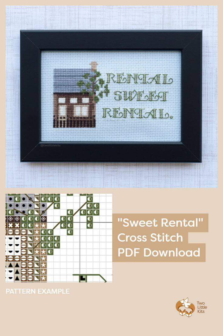PDF cross stitch pattern available for purchase through twolittlekits.com