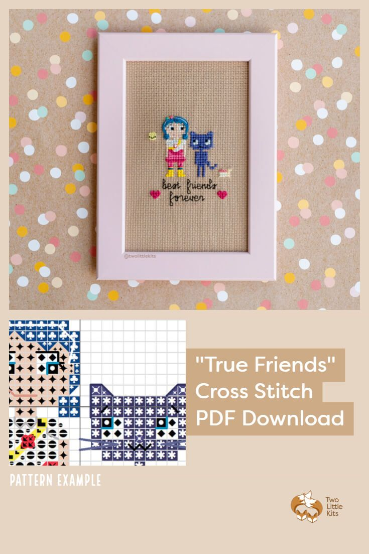 PDF cross-stitch pattern available for purchase through twolittlekits.com