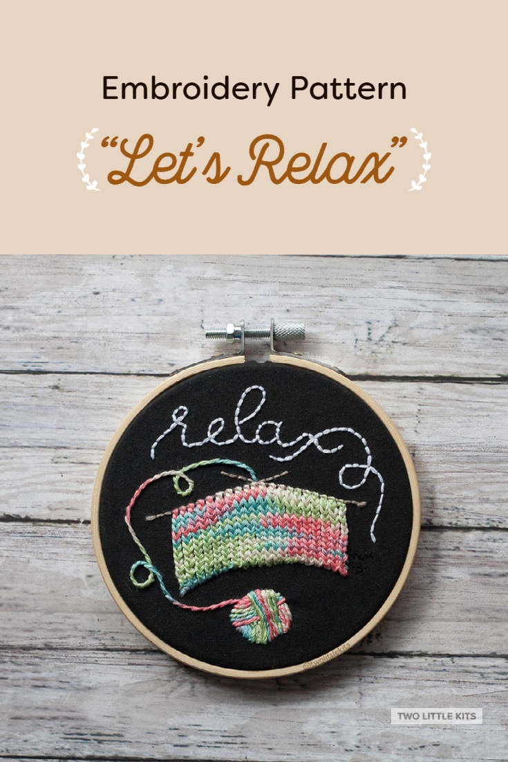 'Let's Relax'. PDF embroidery pattern available for purchase through twolittlekits.com