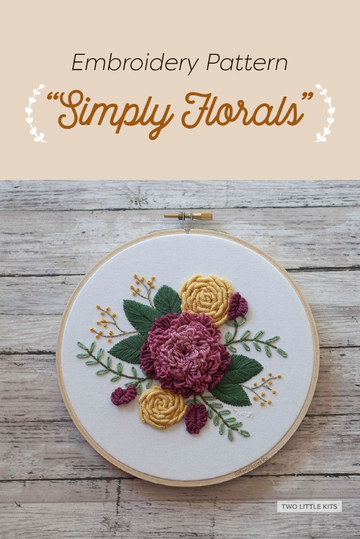 'Simply Florals'. PDF embroidery pattern available for purchase through twolittlekits.com