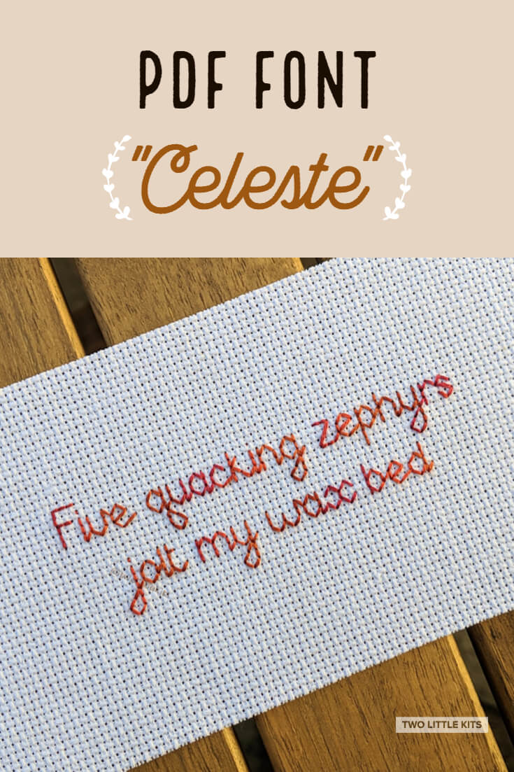 'Celeste' is a pointed, geometric-inspired, easily-ligible font for use in cross-stitch & embroidery. It can be yours for just $2.45!