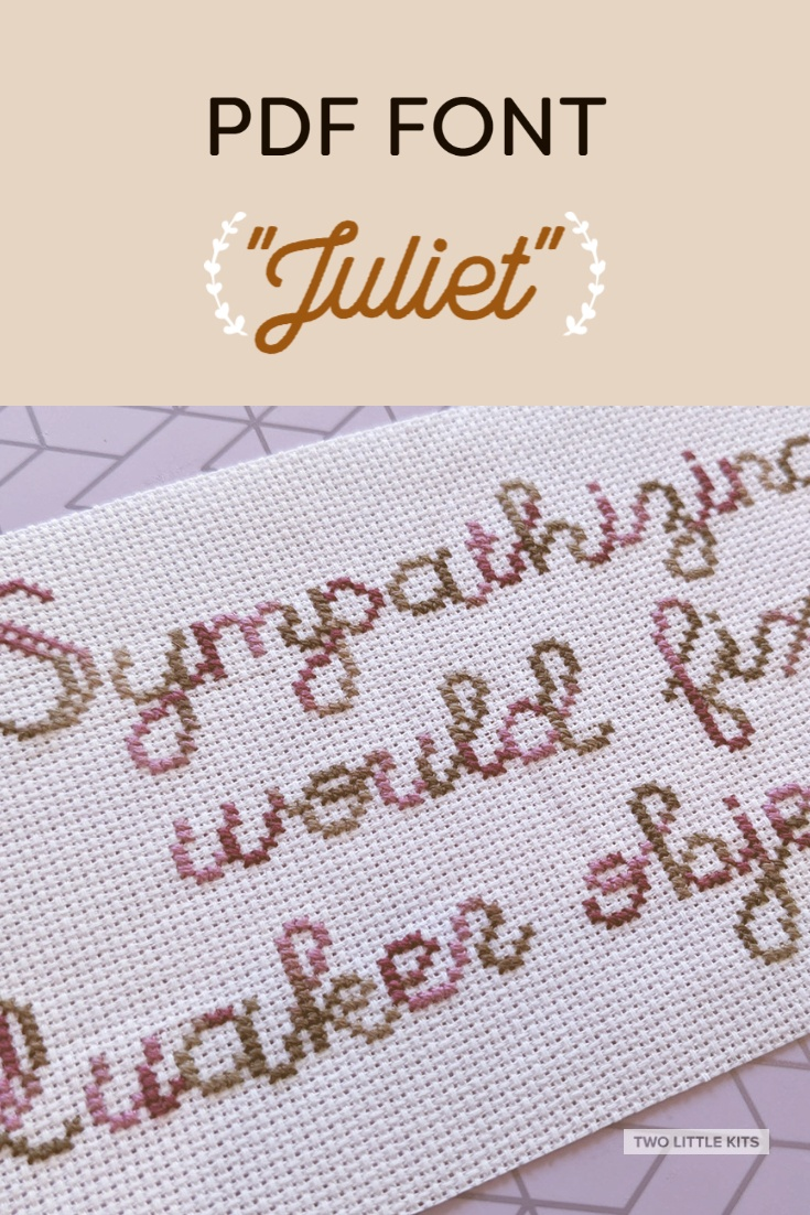 'Juliet' is an easily legible font intended for use in cross-stitch. It can be yours for just $6!