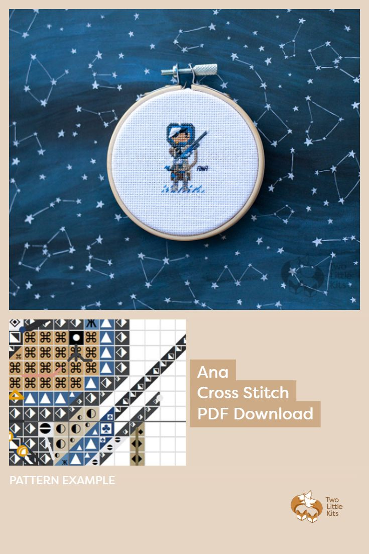 PDF cross stitch pattern of the Overwatch character; Ana for you to stitch for yourself, a friend or maybe as a white elephant gift. Available for purchase through twolittlekits.com