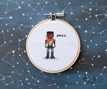 Example of Baptiste in cross stitch form