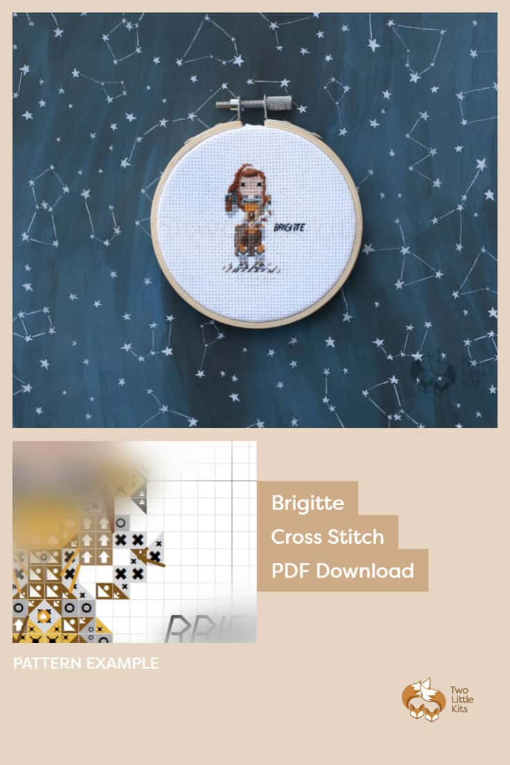 PDF cross stitch pattern of the Overwatch character; Brigitte for you to stitch for yourself, a friend or maybe as a white elephant gift. Available for purchase through twolittlekits.com
