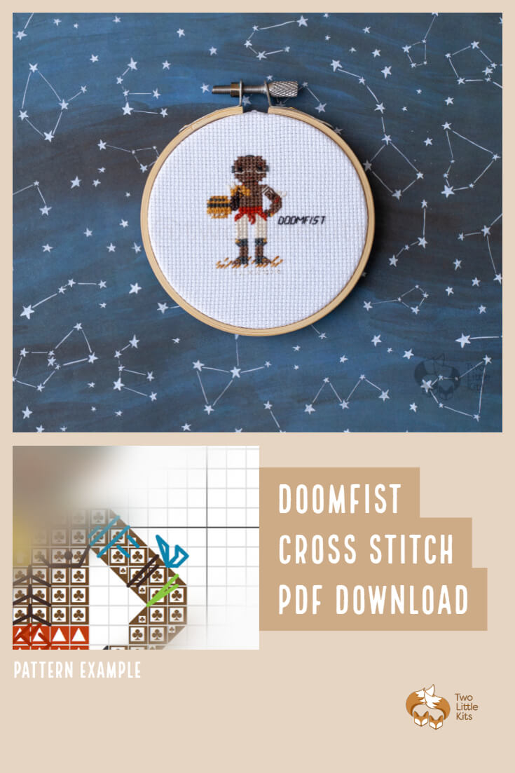 PDF cross-stitch pattern of the Overwatch character; Doomfist for you to stitch for yourself, a friend or maybe as a white elephant gift. Available for purchase through twolittlekits.com
