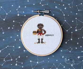 Example of Doomfist in cross stitch form