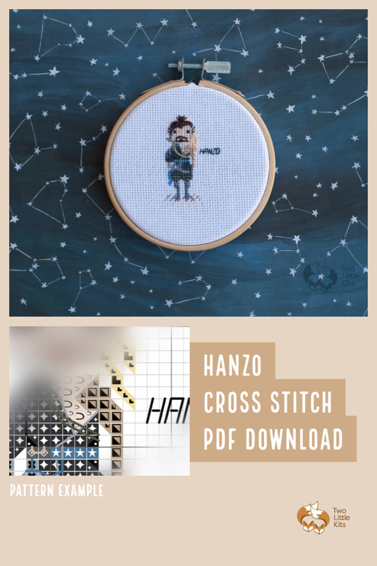 PDF cross-stitch pattern of the Overwatch character; Hanzo for you to stitch. Only $4.95 when purchased through twolittlekits.com