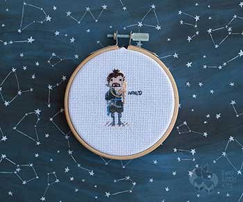 Example of Hanzo in cross stitch form