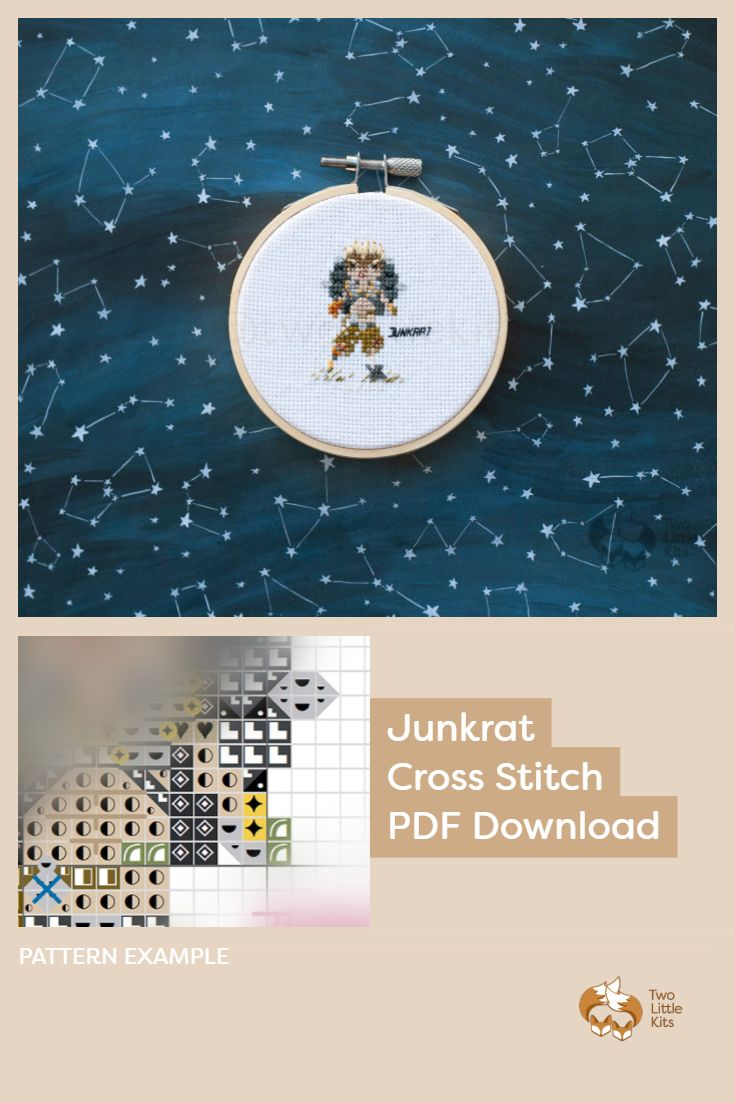 PDF cross stitch pattern of the Overwatch character; Junkrat for you to stitch. Only $4.95 when purchased through twolittlekits.com