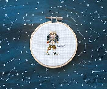 Example of Junkrat in cross-stitch form