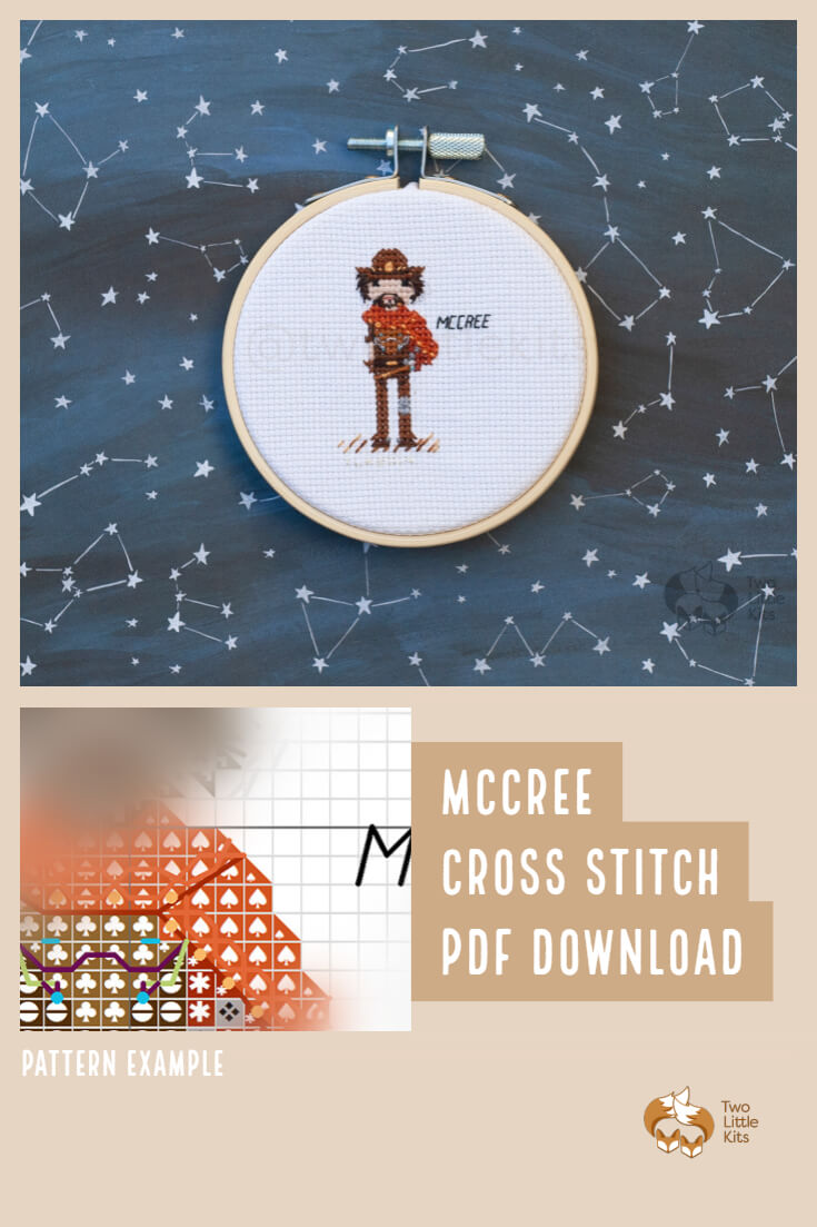 PDF cross-stitch pattern of the Overwatch character; McCree for you to stitch. Only $4.95 when purchased through twolittlekits.com