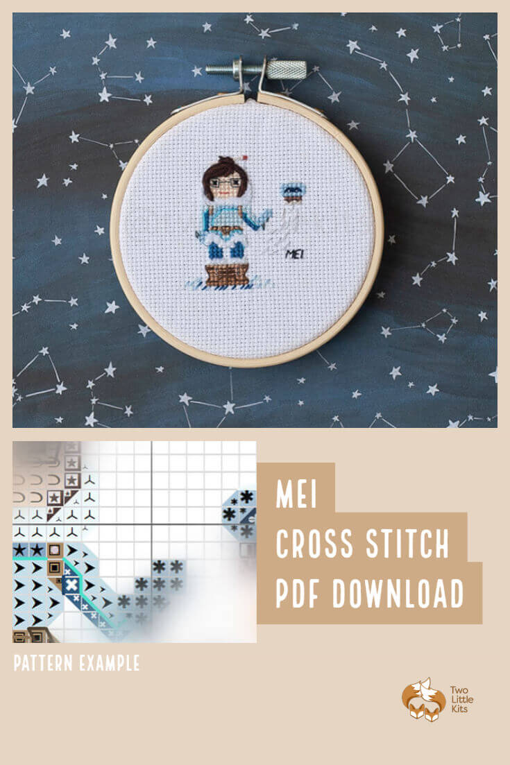 PDF cross-stitch pattern of the Overwatch character; Mei for you to stitch. Only $4.95 when purchased through twolittlekits.com