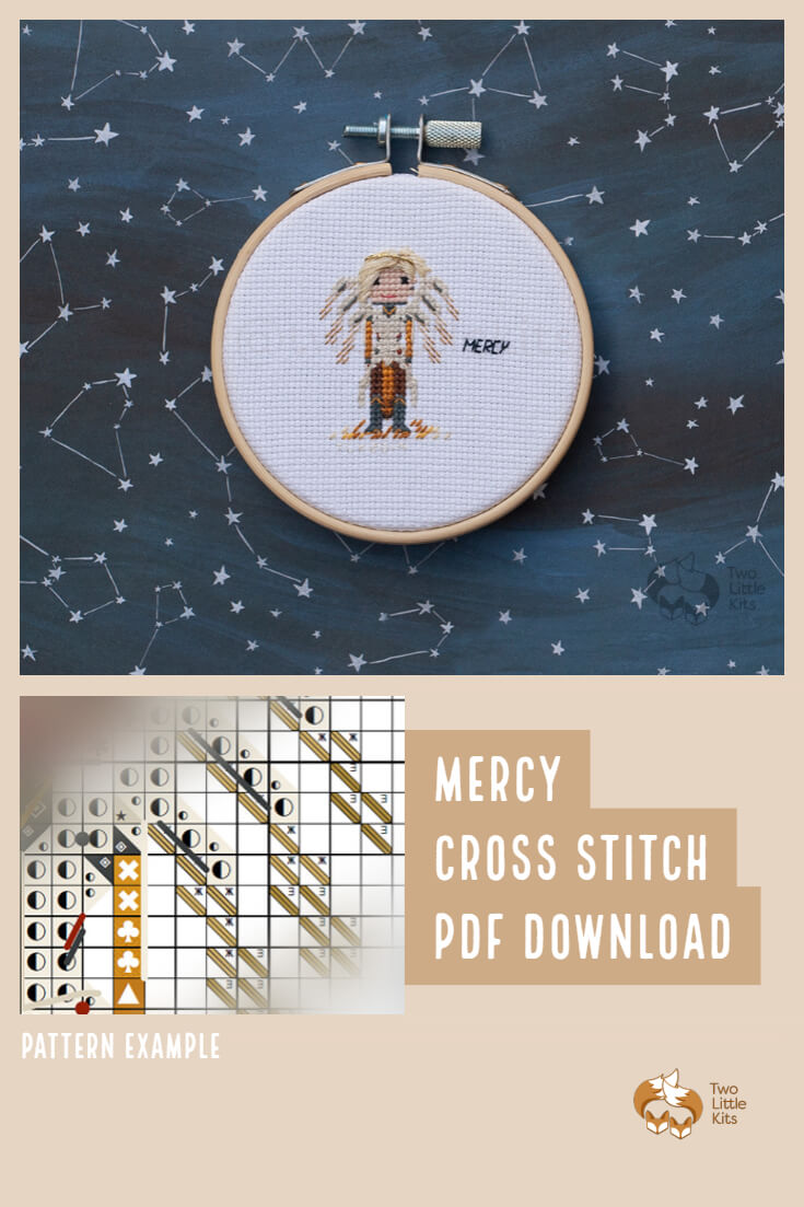 PDF cross-stitch pattern of the Overwatch character; Mercy for you to stitch. Only $4.95 when purchased through twolittlekits.com