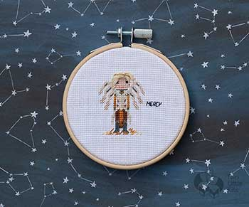 Example of Mercy in cross stitch form