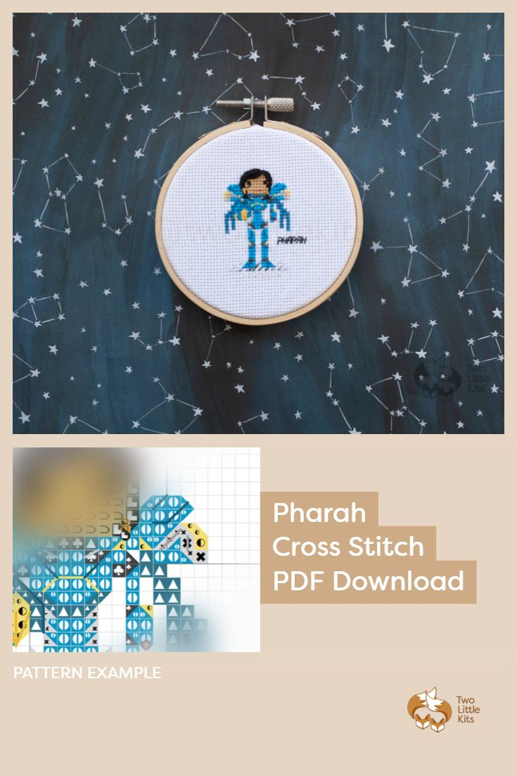 PDF cross-stitch pattern of the Overwatch character; Pharah for you to stitch. Only $4.95 when purchased through twolittlekits.com
