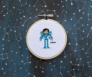 Example of Pharah in cross-stitch form