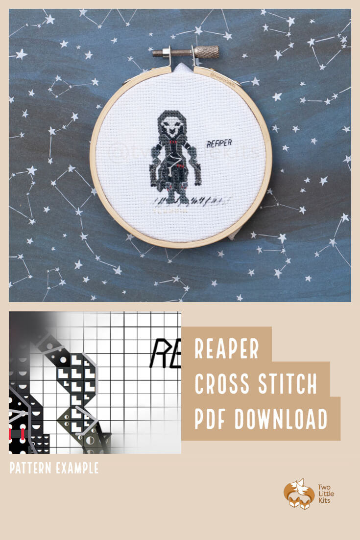 PDF cross stitch pattern of the Overwatch character; Reaper for you to stitch. Only $4.95 when purchased through twolittlekits.com