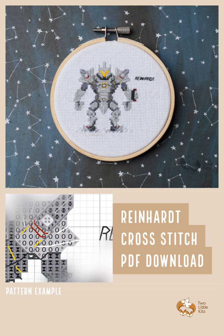 PDF cross stitch pattern of the Overwatch character; Reinhardt for you to stitch. Only $4.95 when purchased through twolittlekits.com