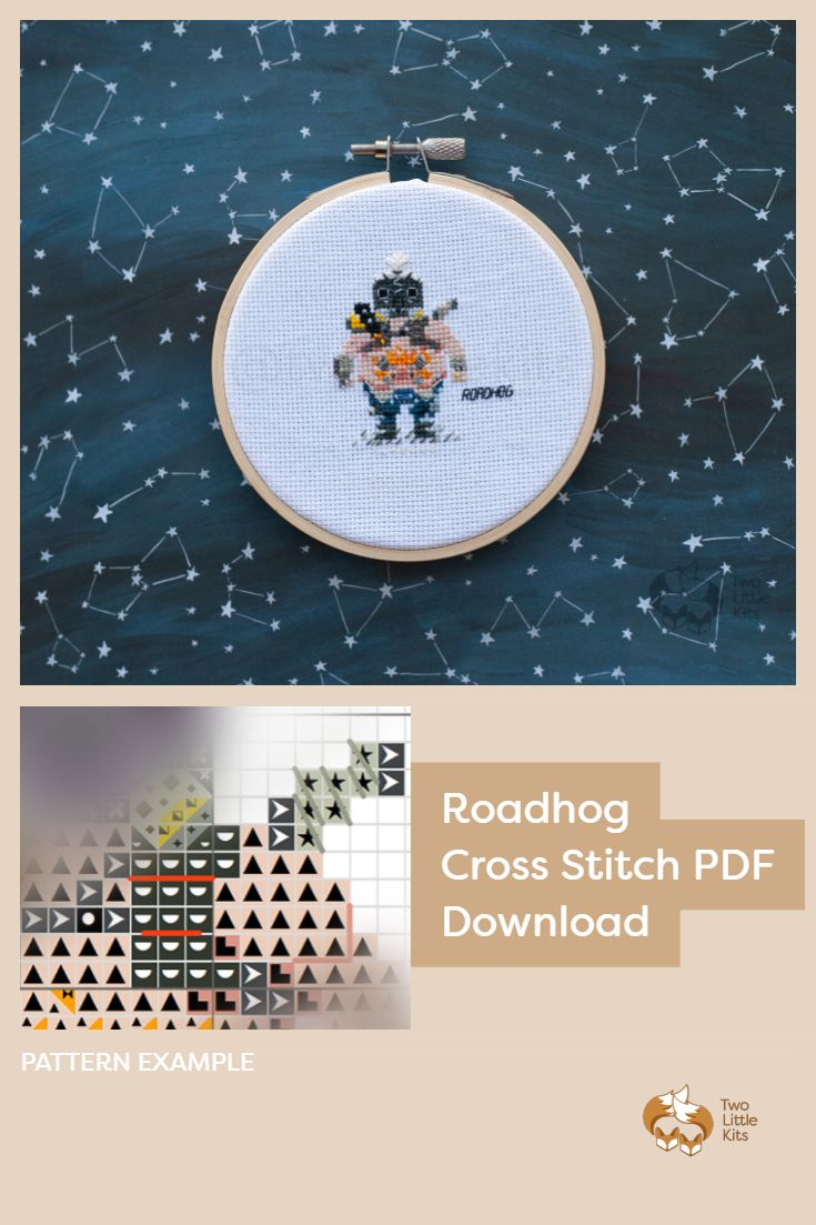 PDF cross-stitch pattern of the Overwatch character; Roadhog for you to stitch. Only $4.95 when purchased through twolittlekits.com