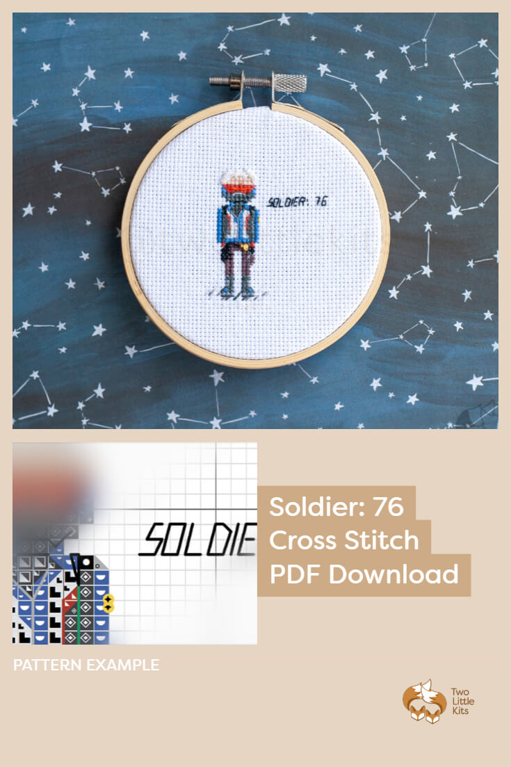 PDF cross-stitch pattern of the Overwatch character; Soldier: 76 for you to stitch. Only $4.95 when purchased through twolittlekits.com