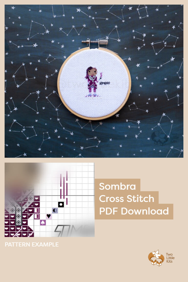 PDF cross stitch pattern of the Overwatch character; Sombra for you to stitch. Only $4.95 when purchased through twolittlekits.com