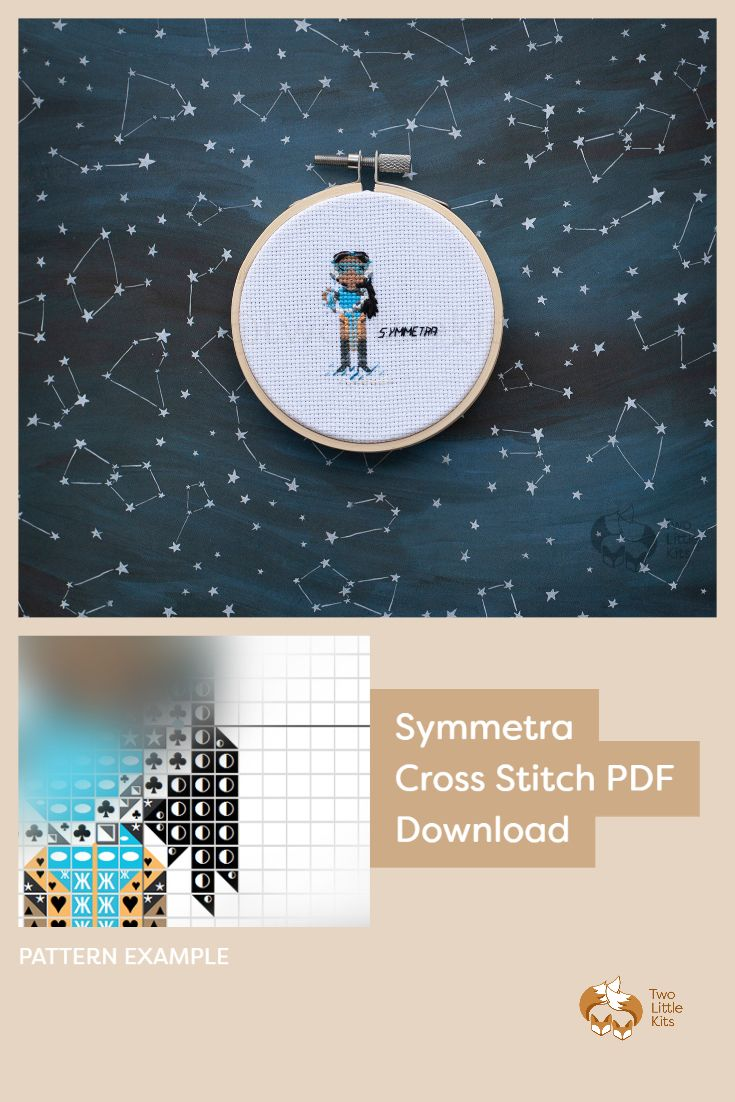 PDF cross-stitch pattern of the Overwatch character; Symmetra for you to stitch. Only $4.95 when purchased through twolittlekits.com