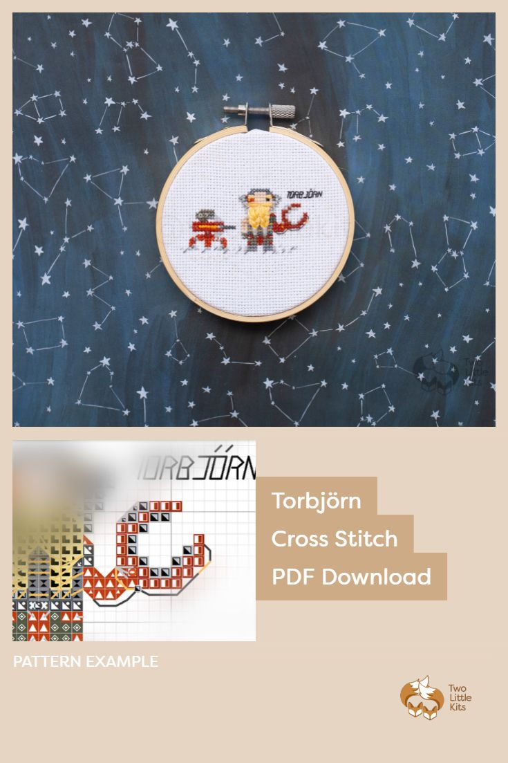 PDF cross stitch pattern of the Overwatch character; Torbjörn for you to stitch. Only $4.95 when purchased through twolittlekits.com