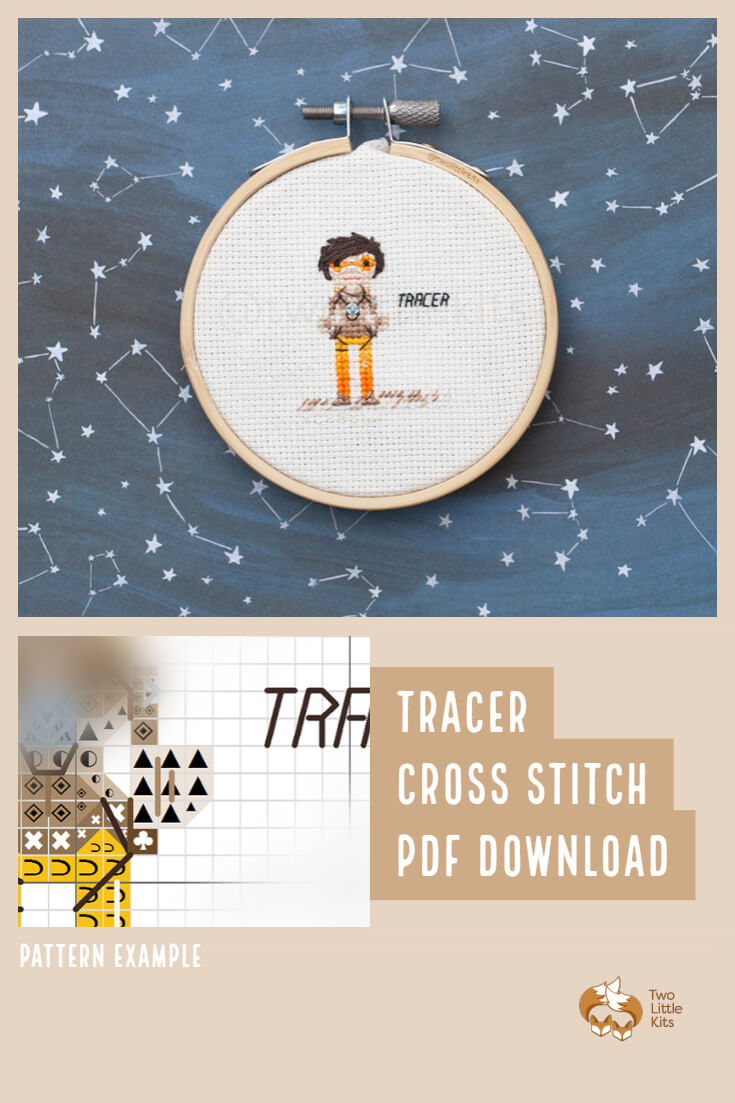 PDF cross-stitch pattern of the Overwatch character; Tracer for you to stitch. Only $4.95 when purchased through twolittlekits.com