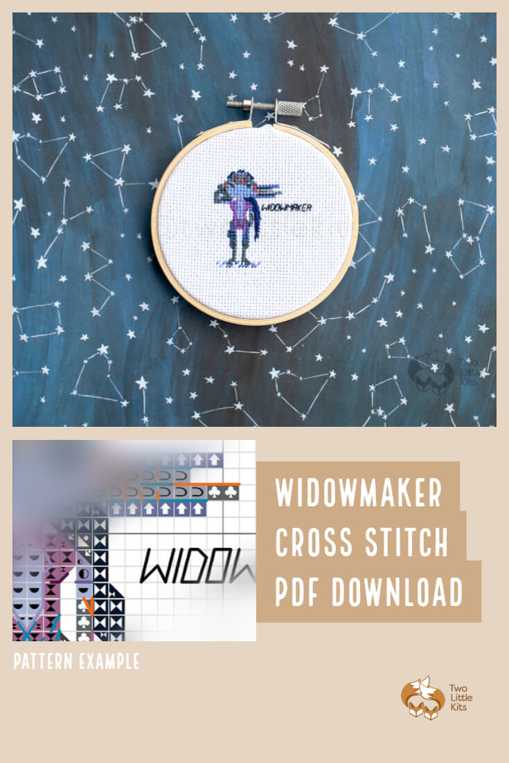 PDF cross-stitch pattern of the Overwatch character; Widowmaker for you to stitch. Only $4.95 when purchased through twolittlekits.com