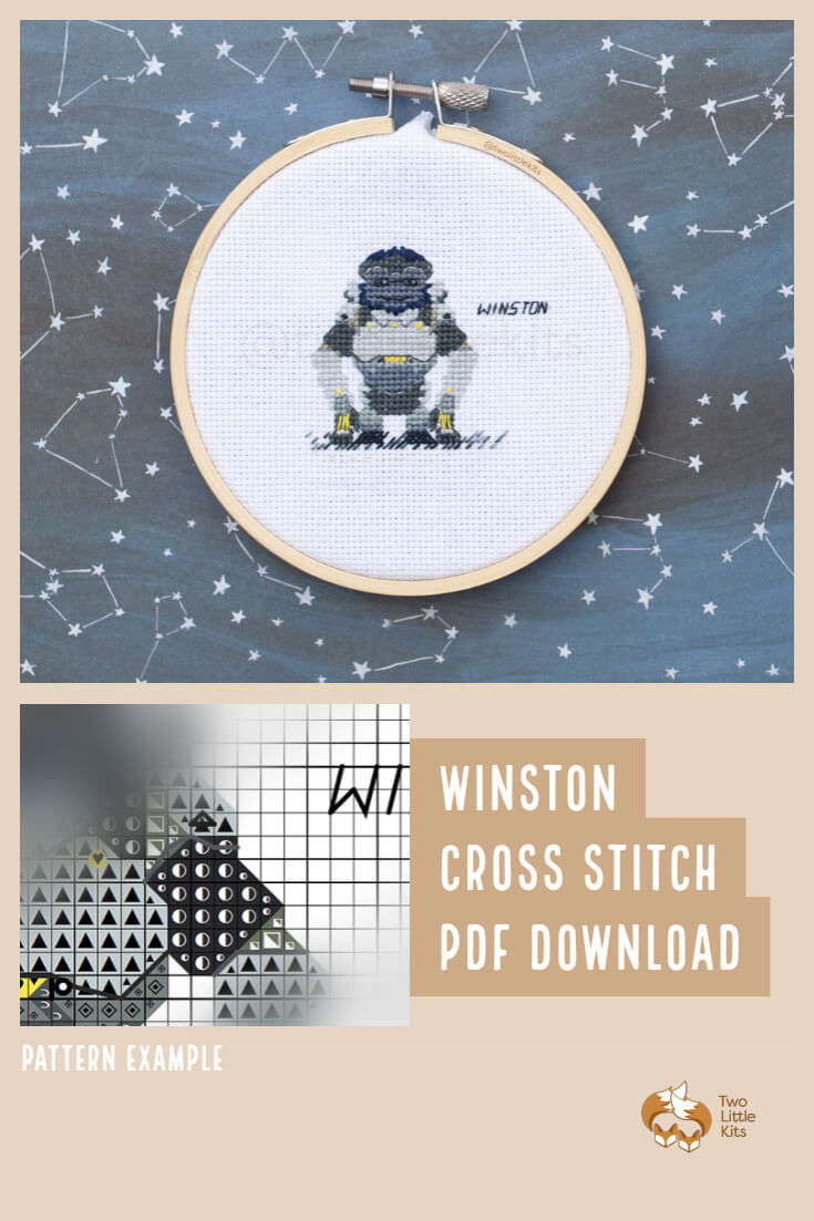 PDF cross-stitch pattern of the Overwatch character; Winston for you to stitch. Only $4.95 when purchased through twolittlekits.com