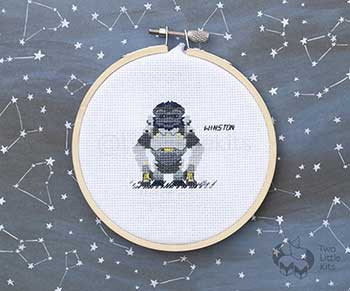 Example of Winston in cross stitch form