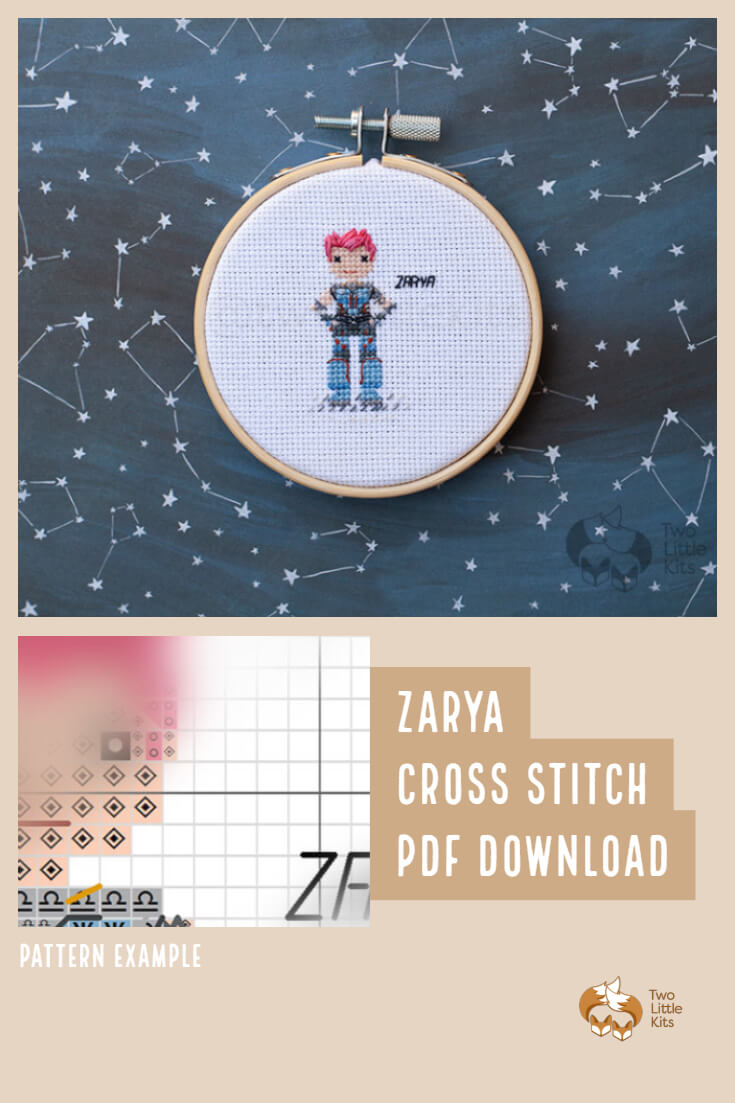 PDF cross-stitch pattern of the Overwatch character; Zarya for you to stitch for yourself, a friend or maybe as a white elephant gift. Available for purchase through twolittlekits.com