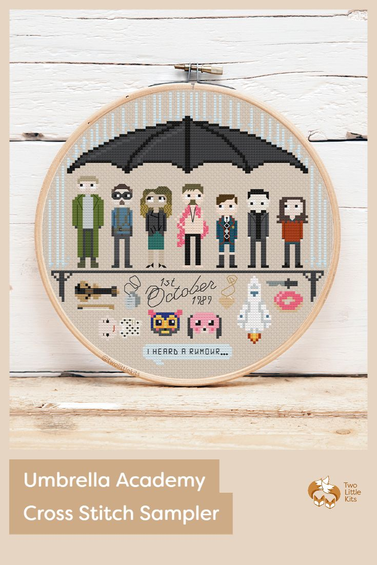 This sampler features the 7 Harcrest children (aka: main characters) in order of their number, their birth date and an umbrella, along with key items that are personal to them or integral to the show itself