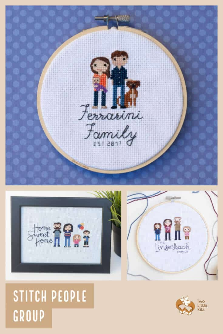 A listing to receive a gorgeous, one-of-a-kind handmade cross stitch piece of 2+ people, characters or even pets. The perfect gift for a loved one or for yourself. Available for purchase through twolittlekits.com